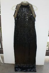 Vintage Adrianna PAPELL Evening Black Beaded Gown Long Dress Formal Size 10 $20.00