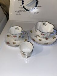 Shelley Two Cups 3 Saucers And Egg Cup Fine Bone China Rose Pansy Forget Me Not