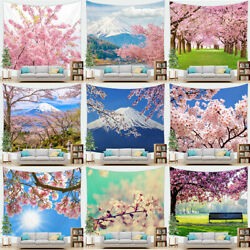 Spring Cherry Blossom Tapestry Mount Fuji with Pink Sakura Flowers Wall Hanging