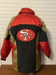 Pro Player San Francisco 49ers Puff Jacket Mens L Jerry Rice Signed Autograph