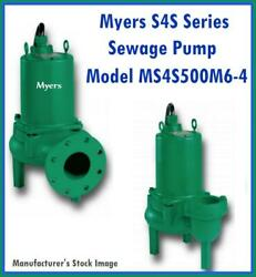 Myers S4s Series Model Ms4s500m6-4 Sewage Pump 5 Hp 200 Volts 3 Phase