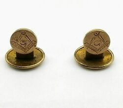 Antique Victorian Yellow Gold Gf Round Masonic Stud Buttons Or Cuff Links Ok986