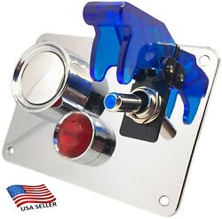 Chrome Plated Switch Panel/1 Blue Led Switch/red Indicator/silver Push Start
