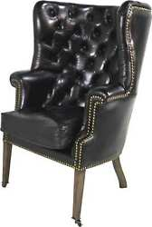 English Porter Style Black Leather Wingback Armchair Or Library Chair