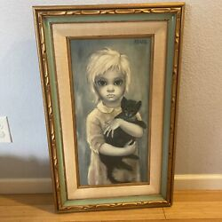 Vintage Margaret Keane The Stray Double Framed Texture Giclee Print On Canvas