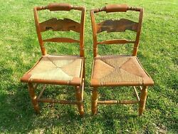 2 Farmhouse Ethan Allen Hitchcock Signed Stencil Eagle Side Chairs Rush Seats