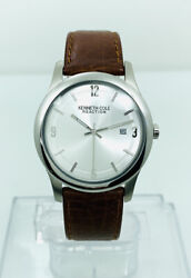 Kenneth Cole Kc1352 Slim Watch Silver White Dial Brown Leather Strap Watch