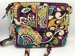 Vera Bradley PLUM CRAZY Tablet Hipster Crossbody Messenger Purse Excellent $24.99