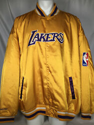 Vintage Rare Los Angeles Lakers Mitchell And Ness Satin Gold Jacket Men's 5xl