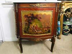 Antique French Louise The Xvi Painted Marble Top Curved Sideboard Cabinet