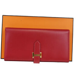 Authentic Hermes Logos Bearn Long Bifold Wallet Purse Leather Red 662la599