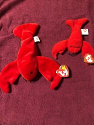 Pinchers The Lobster, Ty Beanie Baby With Errors 1993 And Teanie Beanie Pinchers