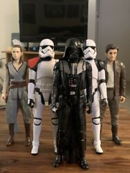 Modern Star Wars 12-inch Figure Lot 5x Vader Poe Rey And Stormtroopers
