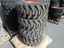 Set Of 4 Bobcat Heavy Duty Skid Steer Tires On Rims 12-16.5 Nhs, Will Fit Many