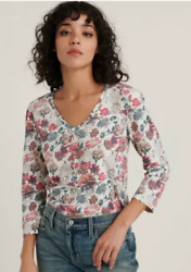 Lucky Brand Womens Xl Ivory Nostalgic Floral Puff Sleeve Knit Top Tee Nwt