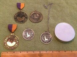 6 Vintage Dog Show Kennel Club Trophies Medals Decor Awards Pewter Showing