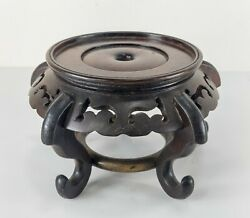 Vintage Chinese Carved Hardwood Base Or Stand For A Vase Bowl Or Potted Plant