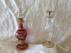 Vintage Egyptian Gold Glass Perfume Bottles Made In Egypt Hand Blown Set Of 2
