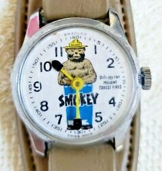 Works Vintage 1960andrsquos Smokey The Bear Wind-up Wrist Watch -- Swiss Made