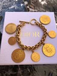 Christian Dior Bracelet Bangle Chain Auth Logo Plated Bicentenary Medals Coin Fs