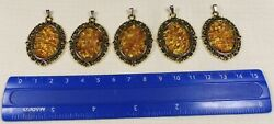 Lot Of 5 Natural Genuine Pendants Authentic Real Baltic Amber Stone Mosaic 1376