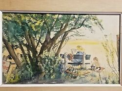 Sweet Watercolor Painting Woman On Bench And Boy W Sand Pail Barbara Cary 1956