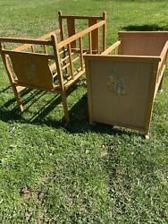 Vintage 1950's Amazing 2 Wooden Baby Doll Drop Side Cribs Bed Toys Bunny Litho