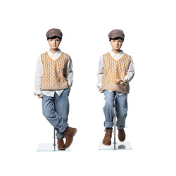 Realistic Fiberglass 10 Year Old Kids Fleshtone Mannequin With Flexible Joints