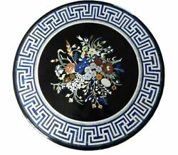 30and039and039 Marble Inlay Table Top Pietra Dura Home Garden Antique Coffee Decor B92