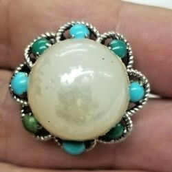 Vintage 14k Solid White Gold Mabe Pearl /turquoise Southwestern Style Ring Sz 10