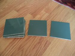 Lot 8 Pieces - Forest Green Ceramic Wall Tile 1970 Vintage6 X 6