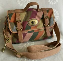 FOSSIL VINTAGE RE ISSUE MESSENGER CANVAS MULTI CROSSBODY Purse Fob $49.95