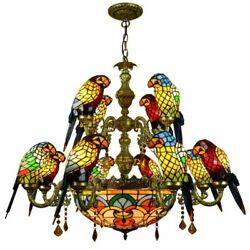 Glass Parrot Chandelier Lamps European Creative Mediterranean Stained Lighting