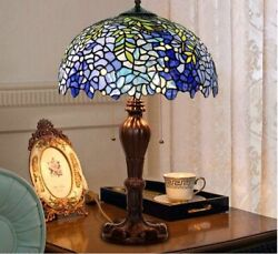 Table Lamps Stained Glass Art Desk Lights Blue Shade Antique Home Decorations