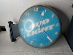 Vintage 1999 Budweiser Bud Light Clock Wall Hanger Sign Double Sided Rare