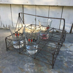 Antique Collector French Wireware Glass/bottle/tumbler Rack Carrier Rare 9well