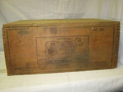 Vintage Church And Dwight Co Cow Brand Baking Soda Wood Crate Advertising