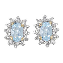 14k Yellow Gold 0.53 Ct Oval Cut Aquamarine And Natural Diamond Earrings