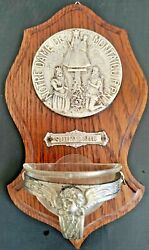 Stunning 19th Century Holy Water Font W Silver Plaque Notre Dame Old Souvenir.