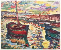Georges Braque Rare 1948 Fauvism Lmt Ed French Lithograph Print Les Barques 1906