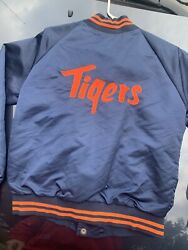 Vintage 80s Detroit Tigers Pyramid Satin Jacket Your Xl Mlb Spell Out Sewn