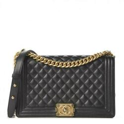 2020 Chanel New Medium Boy Caviar Leather Quilted Flap Black Chain Shoulder Bag $4999.00