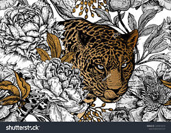 Leopard And Flowers Ceramic Tile Sho9 Reverse Dot Mural 3x6 Ft And 4x8