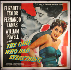 Girl Who Had Everything On Linen 6sh 1953-elizabeth Taylor-original Movie Poster