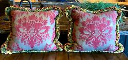 Fortuny Pillows Vintage - 24 X 24 Inches Sold As A Pair