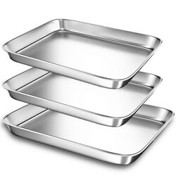 10xbaking Sheet Pans For Toaster Oven Small Stainless Steel Cookie Sheets Metal