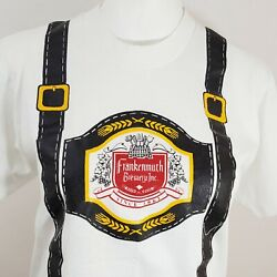 Vint Frankenmuth T Shirt M White Brewery Beer Alcohol Single Stitch Octoberfest