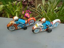 Vintage Pair Of Tin Plate Motorcycle Toys Friction Driven Nice Collectables