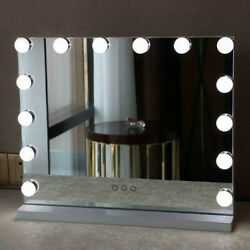 White Hollywood Makeup Vanity Mirror with 14 LED Light Stage Large Beauty Mirror