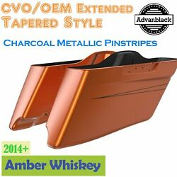 Amber Whiskey Cvo Tapered Extended Saddlebags Pinstripes For Harley Touring 14+